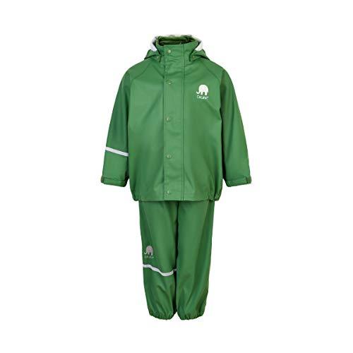 Celavi Unisex Basic Rainwear Set-solid PU Regenjacke, Elm Green, 2 Jahre