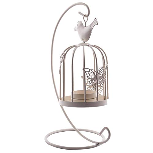 RuiPingRuiLaias Candle Holders Stand Retro decorative candle holder candle holder bird cage candle holder decoration home decoration white for Home Decoration (Color : White)