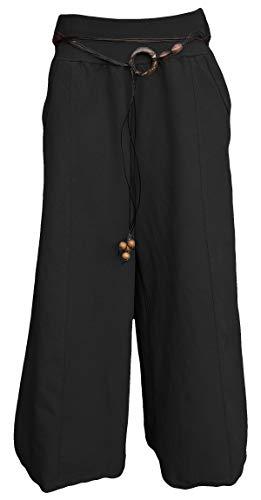 sockenhimmel Culottes - Palazzohose - Hosenrock weites Bein - Sommerhose - Marlenehose aus 100% Leinen (42-46 / One Size, Schwarz)