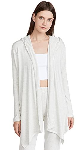 Calvin Klein Underwear Women's Pure Rib Open Hoodie, Grey Heather061, Large