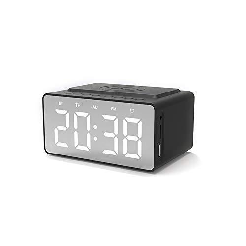 SHBV Reloj Despertador con Carga inalámbrica Junto a la Cama Banco de energía Reloj Digital con Espejo LED Impermeable con Pantalla LED - con Radio FM Cargador USB y Altavoz Bluetooth