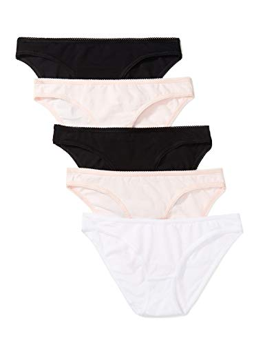Amazon-Marke: Iris & Lilly Damen Belk002m5 Taillenslip, 5er Pack, Mehrfarbig Black/(Soft Pink/White), 38 (Herstellergröße: Medium)