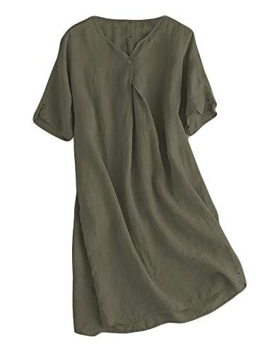 Mallimoda Damen Sommerkleid Leinenkleider V-Ausschnitt Kurzarm Midi Kleid Lange Tunika Bluse Khaki-grün XL