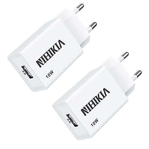 NIBIKIA Cargador USB Pared con Dos USB Puertos 5V/2A 2Pack Adaptador Universal Enchufe Móvil Replacement for Phone X/8/7/6/5, Samsung Galaxy S9/S8/ Note 10/9/8/ A3/A5/, Sony, HTC, LG