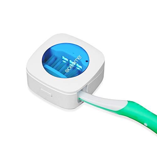 OOCOME Tragbarer, tiefer UV-Zahnbürsten-Desinfektionsmittel-Halter für Zahnbürsten-Sterilisator, Organizer für Zahnbürstenreiniger, Halter mit Aufkleber, gratis Stanzung für Reisen und Familie