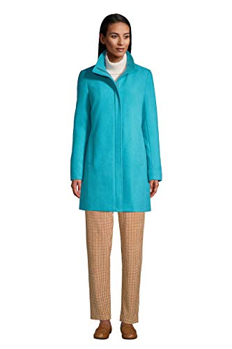Lands' End Womens Insulated Wool Coat Coastal Blue Teal Petite Plus 18w