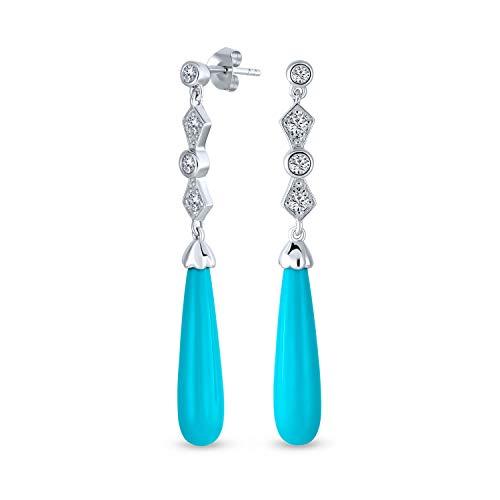 Cubic Zirconia CZ Lineal Larga Azul Turquesa Estabilizada Tear Drop Pendiente De Plata Esterlina 925 Mujer