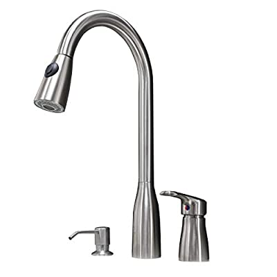 Hotis 3 Hole Pull Out Prep Sprayer Stainless Steel Single Handle Pull Down Kitchen Faucet,Sink Faucet Brushed Nickel Kitchen with Soap Dispenser