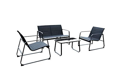 ARO Lounge Set - Gartenmöbel Set für 4 Personen - 1 Tisch, 2 Einzelsofa und 1x 2-Sitzersofa - aus Stahl und Glas - wetterfestes Loungeset für Balkon, Garten, Terrasse