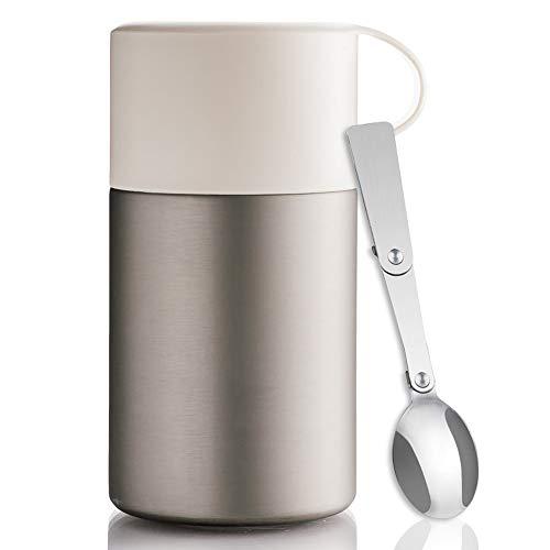 BOHORIA® WonderJar Premium Thermobehälter Lunchbox mit Löffel 600 ml | Isolierbehälter | Edelstahl | Thermo-Gefäß für Suppe, Salat, Müsli und Babynahrung | Speisebehälter (White)
