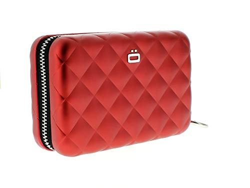 Ögon Smart Wallets - Quilted Zipper Wallet - RFID Protection : Protects Your Cards from Stealing - Up to 24 Cards + receits + Notes + Coins - Anodised Aluminium (Rot)