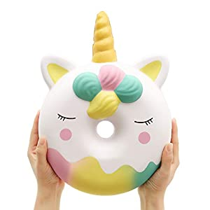 Anboor 13 Inches Squishies Jumbo Unicorn Donut Kawaii Soft Slow Rising Scented Giant Doughnut Squishies Stress Relief Kid Toys (White) 1