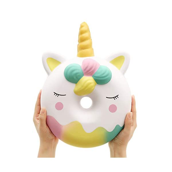 Anboor 13 Inches Squishies Jumbo Unicorn Donut Kawaii Soft Slow Rising Scented Giant Doughnut Squishies Stress Relief Kid Toys (White) 2