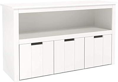 【Material Resistente】: Este armario almacenaje está hecho de MDF de grado E1. Es resistente a la humedad y al moho. El grado de MDF garantiza la seguridad y estabilidad del gabinete. Al mismo tiempo, la aplicación de pintura ambiental blanca brinda u...