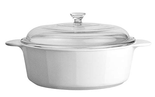 CorningWare Pyroceram Classic Casserole Dish with Glass Cover, White, Round, 3.5 Quart, 3.25 Liter (Large)