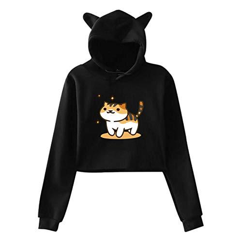 Neko Atsume Women'S Crop Top Sweatshirt Hoodie Cat Ear Pullover Hooded