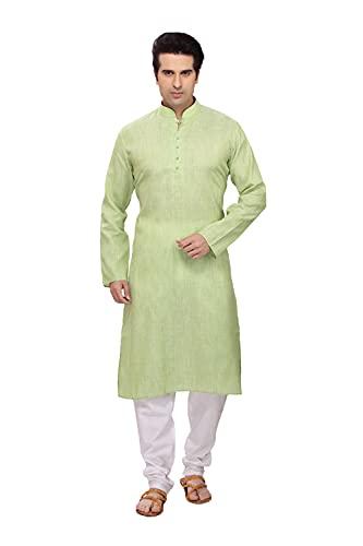 Indian Women Sarees Pijama Kurta de algodón verde cómodo y relajante para hombre ICW3052-5-50