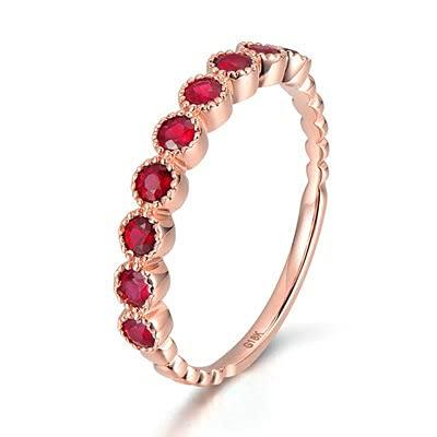 Bishilin Anillos de Boda Oro Rosa 750, 0.8ct Rojoondo Rubí Anillo de Alianza de Boda de Compromiso de Aniversario Ajuste Cómodo Regalos para Cumpleaños Navidad Oro Rosatamaño: 8