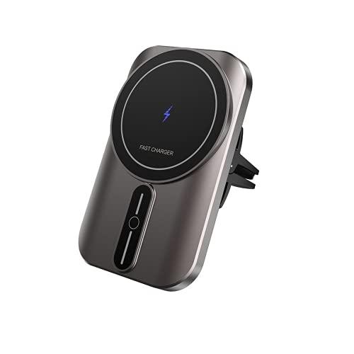 Adecuado para iPhone 12 Mini Pro Max 15W cargador inalámbrico magnético para automóvil, soporte para automóvil giratorio de 360 °, soporte para teléfono móvil con navegación por inducción automática