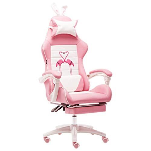 Gaming Chair Home Office Spiel Mädchen Herzsitz Racing Racing Stuhl Pink Master Live Computer Stuhl-Flamingo+Footrest
