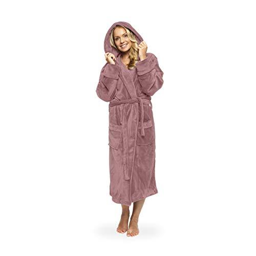 Lumaland Luxury Mikrofaser Bademantel mit Kapuze für Damen und Herren in verschiedenen Größen und Farben Rosé Größe XXL