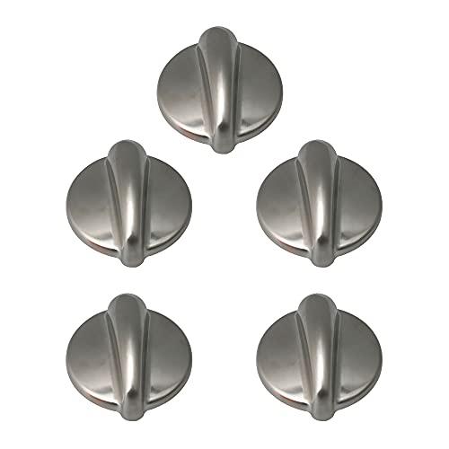 BQLZR WB03K10303 Metal Cooktop Knob Burner Part AP4980246 AH3486484 Pack of 5 Silver