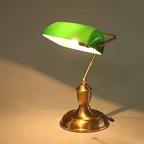 OUKANING Retro Tischlampe grüne Klassiker Schreibtischlampe E27 Schreibtischlampe Bibliotheksleuchte Messing-Optik & geschwungenen Verzierungen der im 20er Vintage Industrial Tischlampe für Bedroom