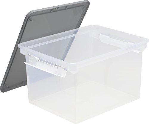 Storex de stockage de fichiers Tote avec poignées de verrouillage, 47 x 36,2 x 27,6 cm, Transparent/argenté (61530u01 C) Single Transparent/argenté