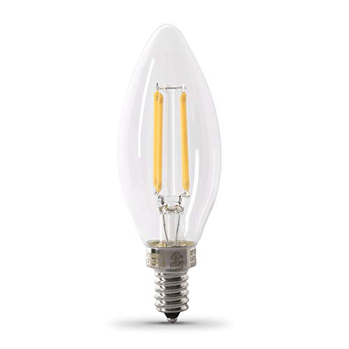 Feit Electric CTC40/927CA/FIL/6 3.3W 40W Equivalent Clear Dimmable 300 Lumen Torpedo Tip 6-Pack LED Chandelier Light Bulb, 6 Count (Pack of 1), 2700K (Soft White), 6 Piece