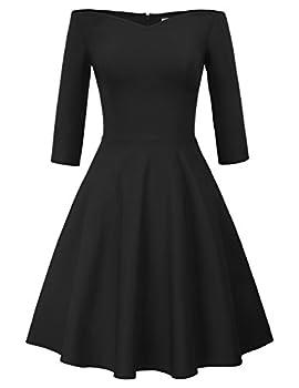 Women s Vintage Off Shoulder V-Neck Party Dress Size M Black CL832-1