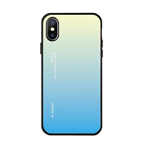 Funda de teléfono de vidrio degradado de apple aplicable Funda de teléfono degradado de iphoneXS XSMAX / 6/7 / 8plus set xr 6 apple de degradado amarillo azul XR