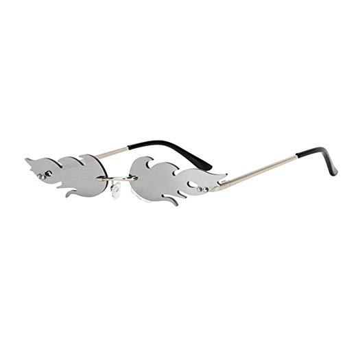 Gafas duraderas Sin Montura Streetwear UV 400 Gafas de Sol de Okra Onda de Tendencias Reduzca la Llama del Fuego Gafas de Sol conducción de automóviles de Eyewear de Las Gafas (Color : Silver)