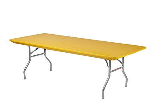 Kwik-Covers 8 Rectangle Plastic Table Covers 30 x 96, Bundle of 5 (Gold)