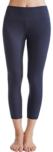 Oalka Women's Yoga Capris Running Pants Workout Leggings Charcoal S
