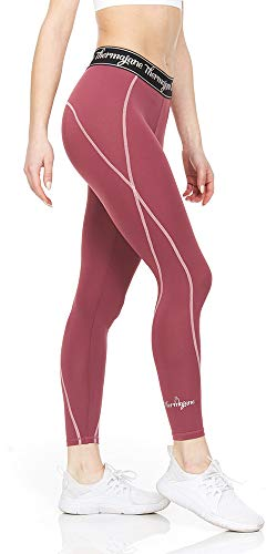 Thermajane Women Compression Pants - Athletic Tights- Leggings for Yoga, Running, Workout and Sports (Small, Wine)