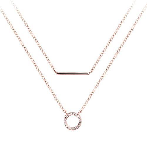 WQZYY&ASDCD Collar De Mujer Collar De Cadena De Perlas Dobles De Plata De Ley 925 Collar Colgante De Circón Brillante Redondo Regalo Accesorios Exquisitos-Oro