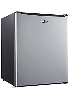 Willz WLR27S5 Compact Refrigerator Single Door Fridge with Chiller, 2.7 Cu.ft Stainless Steel Look
