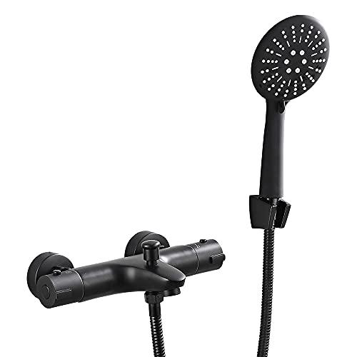 Grifo de bañera con alcachofa de mano, color negro, montaje en superficie para ducha, bañera y conexión de ducha, sistema de ducha G1/2 con temperatura de 38 °C