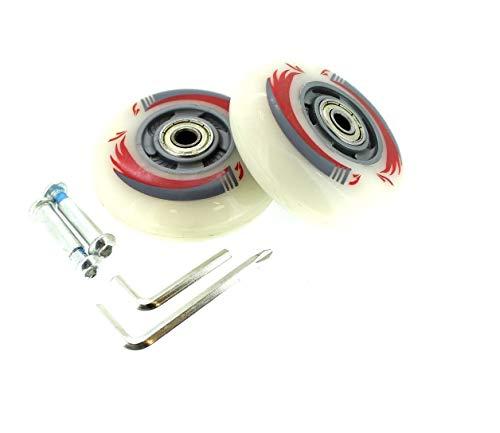 2 Stück Inliner-Rollen LED Licht Leuchtrollen leuchtende Rollen 80mm Waveboard ABEC 5-7 (Weiß)