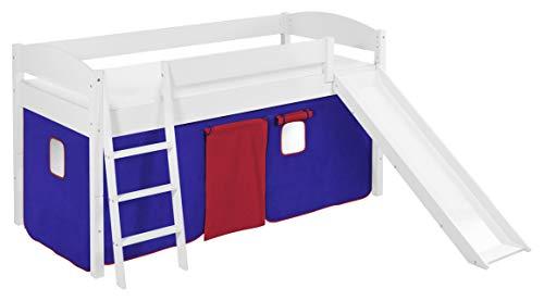 Lilokids Spielbett IDA 4105 Blau Rot-Teilbares Systemhochbett weiß-mit Rutsche und Vorhang Kinderbett, Holz, 208 x 220 x 113 cm