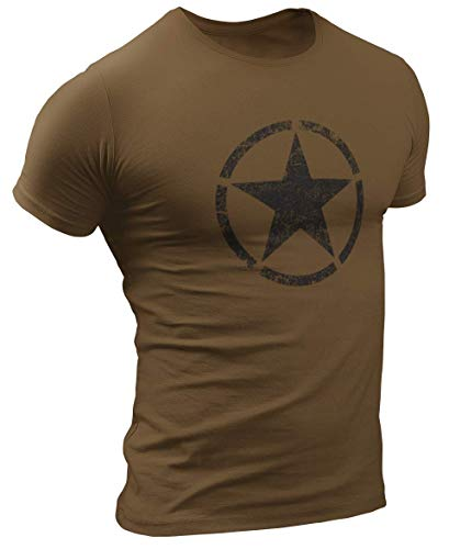 US Army Retro Vintage Star Herren T-Shirt (L, Braun)