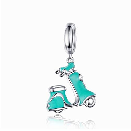 Inbeauty Breloque en émail pour bracelet en argent sterling 925 avec pendentif pour vélo électrique pour femme
