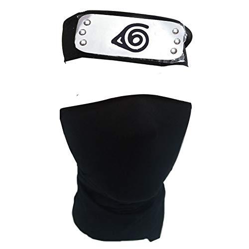 IDOXE Japan Anime Logo Headband Unisex Cosplay Mask Veil with Ninja Props Kunai Plastic Toy Japanese Anime Accessories (Black)