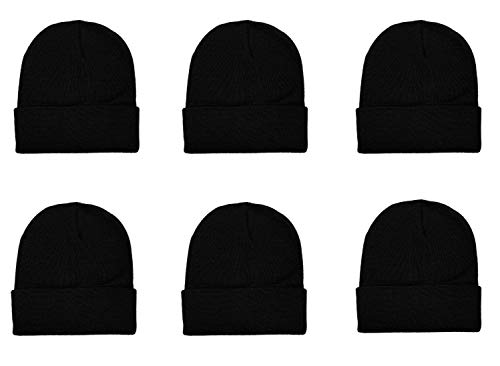 Gelante Unisex Knitted Winter Beanie Hat 6 Pcs -20-2040-BLK-6PC Black