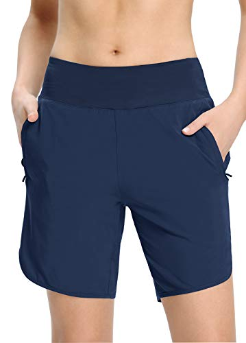 MOCOLY Womens Quick-Dry Running Shorts Athletic Sports Workout Shorts Lightweight Gym Yoga Shorts 7 Inches Loose Fit Zip Pocket Navy Blue XL