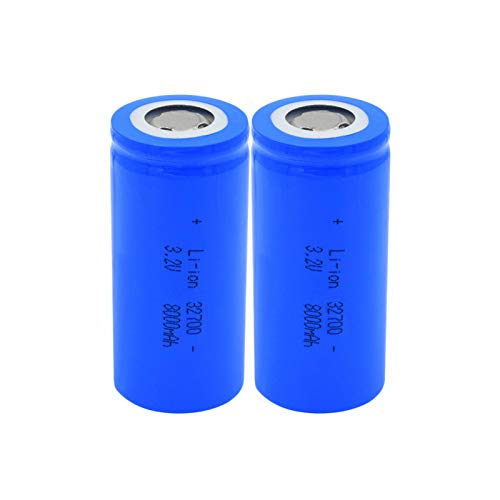 josiedf 3.2v 8000mah 32700 Lithium Li-Ion Batteries, Rechargeable Battery for Scooter Power Tool 2Pieces