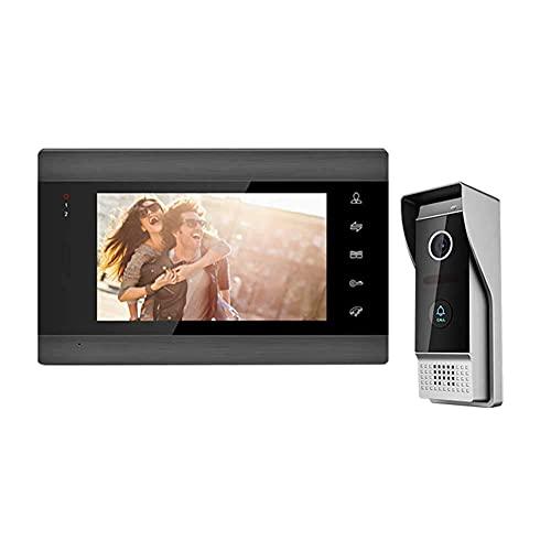 FMOGG Sistema di Videocitofono, Sistema di Citofono con Campanello Video da 7 Pollici, Sblocco del Supporto, Monitoraggio, Citofono Bidirezionale per Appartamento Villa Home Office
