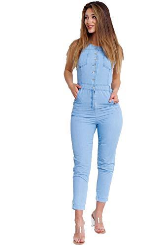 ArizonaShopping - Hosen Damen Jeans Jumpsuit Sommer Overall Einteiler Anzug Playsuit, Farben:Blau, Größe:38