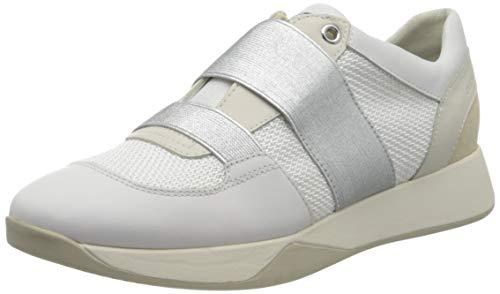 Geox Damen D SUZZIE D Slip On Sneaker, Weiß (White/Lt Gold C1327), 38 EU