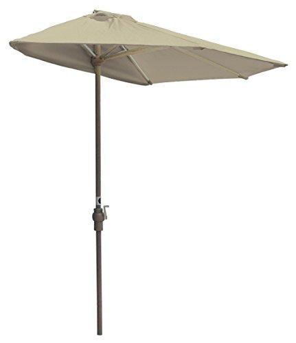 Blue Star Group Off-The-Wall Brella Sunbrella Half Umbrella, 7.5'-Width, Antique Beige 7.5' Wide Outdoor Wall